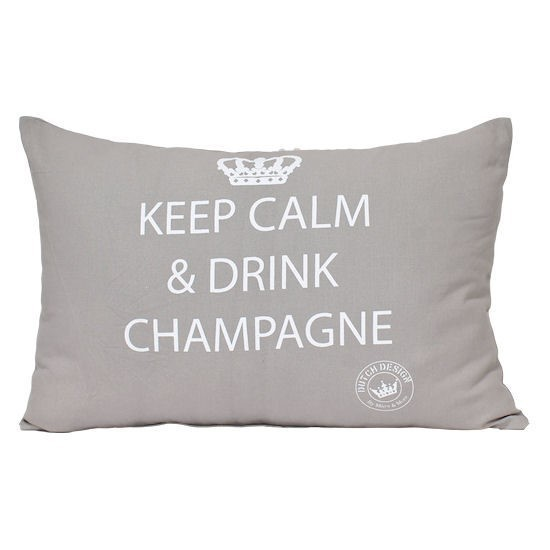 "Kissen ""Keep calm and drink Champagne"" (Zement, 35x45 cm)"