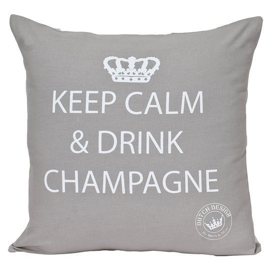 "Kissen ""Keep calm and drink Champagne"" (Zement, 45x45 cm)"
