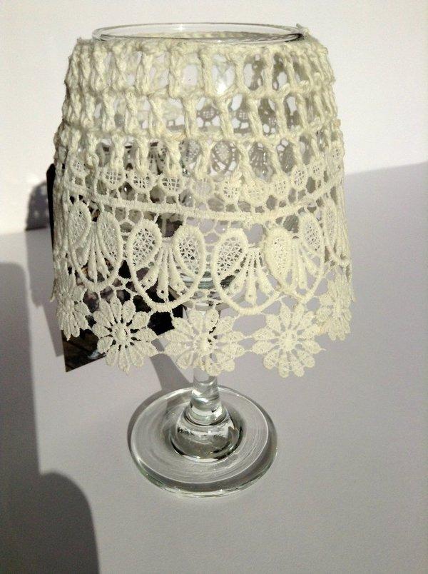 Teelichthalter mit glas und lampenschirm wei - Liebenswert dekorieren ...